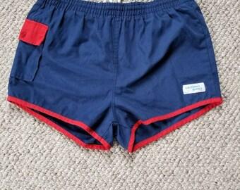Mens vintage 80s swim trunks, blue, 32-34