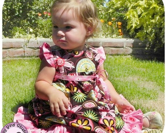 Birthday party baby dress PDF sewing pattern for intermediate sewers - newborn to 24 mths, wide ruffled skirt, ruffled sleeves, high waist