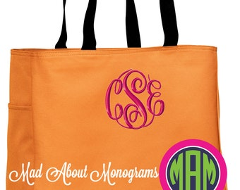 """6 Monogrammed Tote Bags - The """"Arden"""" Tote - 20 Colors - Bridesmaids, Graduation, Mother's Day, Birthday, Just Because!"""