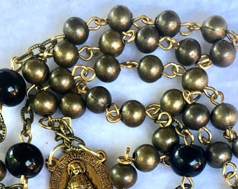 Small Black and Gold  Metal and Glass Beads Catholic Rosary  Necklace