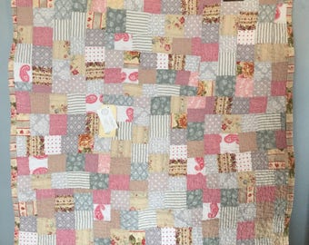 ready to ship -- lap quilt or baby quilt -- cotton -- pale gray, cream, linen, soft pink