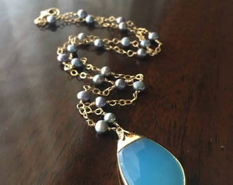 Sky Blue Chalcedony Pendant and Freshwater Pearl Necklace...Gold-filled...Ready to Ship...FREE SHIPPING