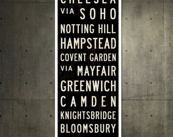 SMALL London Subway Sign, London Art, Bus Scroll, British Decor, Roll Sign, London Poster, England Art Print, Typography Print, 12x36.