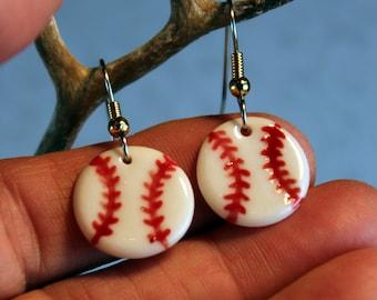 Baseball Earrings Handmade Porcelain Ceramic Jewelry
