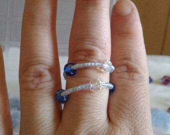Blue and transparent ring