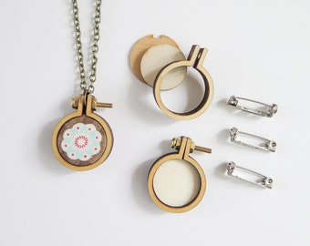 """3 Tiny Embroidery Hoops Necklace Brooch Kit   1"""" (25mm) Embroidery Hoops from Dandelyne, Circular Mini Hoops, DIY Jewelry Kit"""