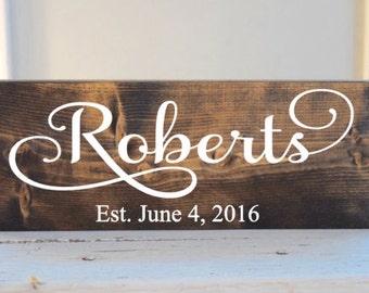 Personalized last name sign, established sign, rustic family sign, wood established sign, cottage family sign
