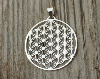 925 Sterling Silver Flower Of Life Pendant Necklace Flower Of Life