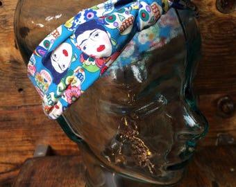 Yoga style headbands, Sugar skull headband,  yoga headband, knit headband