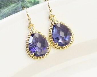 Purple Earrings - Gold Tanzanite Purple Bridesmaid Earrings - Wedding Jewelry - Bridal Jewelry - Gold Purple Glass Drop Earrings