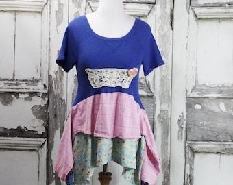 Upcycled Clothing Lagenlook Tunic Dress Original Design Mori Girl Junk Gypsy Style