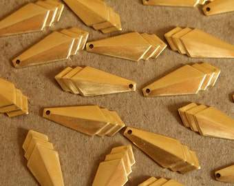 10 pc. Raw Brass Narrow Layered Geometric Charm: 24mm by 10mm - made in USA | RB-119