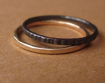 Black and Gold - Tiny Stoneless Stackers - Set of 1 Sterling Silver Stacking Ring and 1 Gold-Fill Stacker