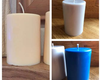 Natural Soy wax , Pillar candle 130mm tall, various scents , Highly scented , various colours, uk
