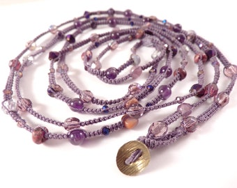 Purple Rainbow Can Be Worn As An Elegant Eight Times Wrap Fine Beaded Macrame Bracelet, Two Times Wrap Necklace, Or Five Times Wrap Anklet.