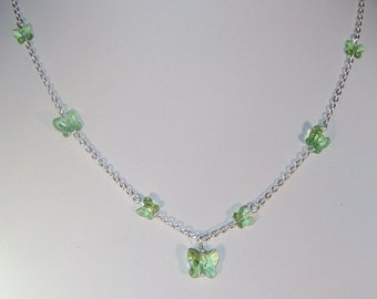 Swarovski Crystal Butterfly Necklace - Shown in Peridot