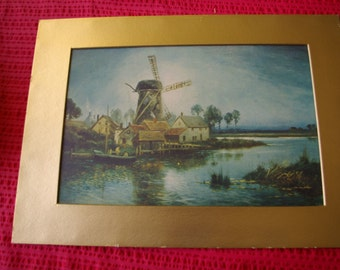Print of a mill on a waterway