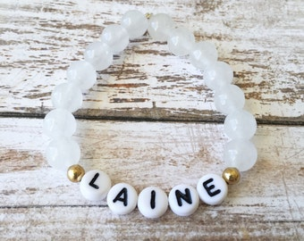 Baby Name Bracelet, Personalized Baby Bracelet, Kids Name Bracelet, Baby Gift, Baby Shower Gift, Kids Jewelry, Stretch Bracelet