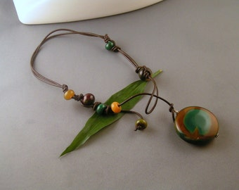 Peacock Agate Lariat on Cord