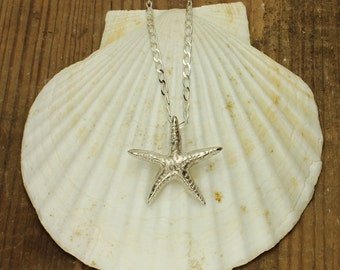 Starfish Silver Necklace Starfish Pendant in Solid Sterling Silver Ocean Nautical Marine