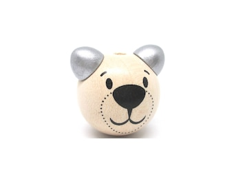 Wooden 3D Teddy bear head bead - natural & silver