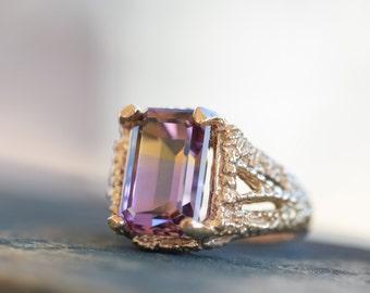 Ametrine ring, huge gemstone ring, natural ametrine, ametrine statement ring, ametrine gold ring, antique style ring, organic textured ring