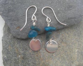 Sterling Silver earrings, wire wrapped earrings, silver disc earrings, blue apatite jewelry, blue gemstone earrings, silver circle earrings