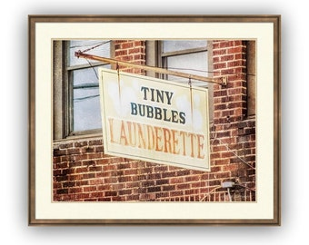 Laundry Room Wall Decor Fine Art Photography Print or Gallery Canvas Wrap Giclee, Old Vintage Storefront Signage Laundromat, Launderrette