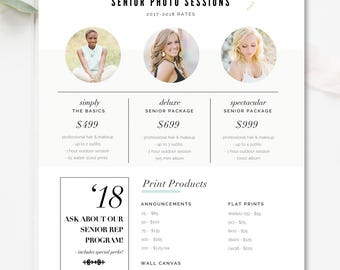 Senior Pricing Template, Photography Pricing Guide, Photoshop Template, High School Seniors, Photography Template - INSTANT DOWNLOAD
