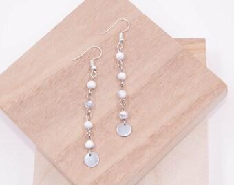 White Howlite Link Earrings // Boho Earrings // White Stone Bead Earrings // Silver Dangle Earrings // Howlite Drop Earrings // Handmade