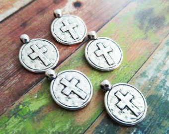 Cross Charms Cross Pendants Antiqued Silver Cross Charms Circle Charms Circle Pendants Hammered Cross Religious Charms 5pcs