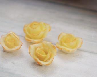 4 yellow rose mini cold porcelain (lot no. 2)