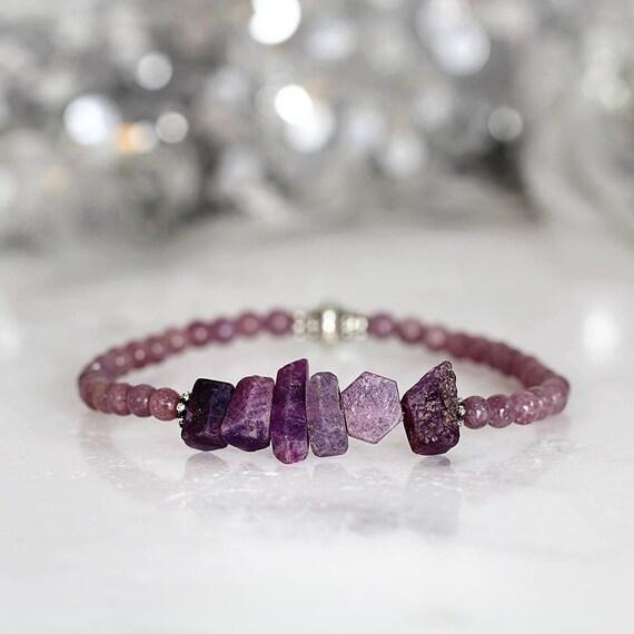 Raw Sapphire Bracelet - Raw Gemstone Jewellery