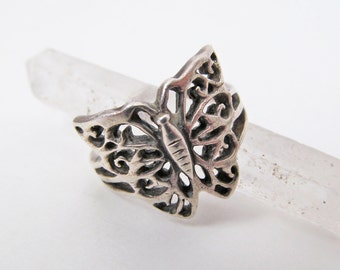 Sterling Silver Butterfly Ring, Filigree Ring, Vintage Nature Jewelry, Ring Size 5, Nature Jewelry, Butterfly Jewelry, Naturalists Gift