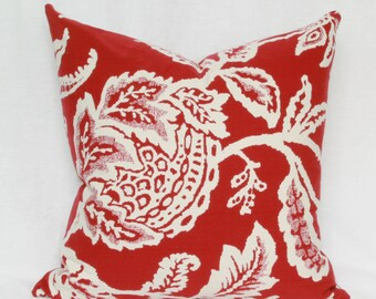 Red floral reversible decorative throw pillow cover 18x18 20x20 22x22 24x24 26x26 Euro sham red Lumbar  12x20 12x24 14x24 14x26 16x24 16x26