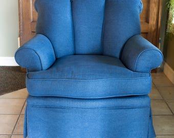 Blue Denim Chair | Reupholstered Vintage Furniture | Milo Milo