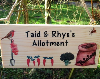 Personalised Allotment or Garden Plaque Any Name/s  Plot Number