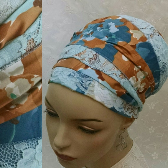 NEW***Feminine floral cotton and lace sinar tichel, tichels, head wrap, chemo scarf, head covering, head scarf, hair snood, Jewish