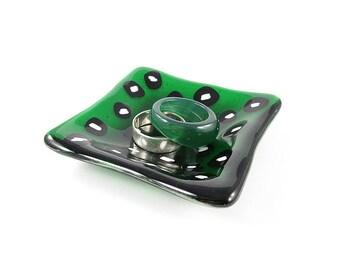 Green Ring Dish Trinket Dish Leopard Dish Fused Glass Dish Soap Dish Catch All Dish Jewellery Dish Gift Dipping Bowl