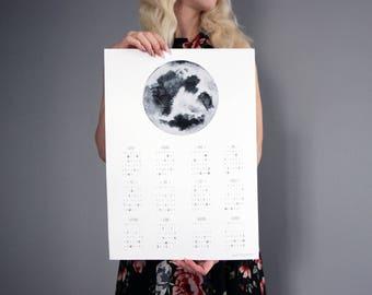 Moon Phase Calendar 2018 - Lunar Calendar - Moon Calendar, poster