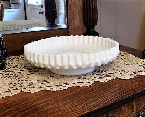 Fenton / Hobnail / White Milk Glass / Pedestal Plate / Pie Crust / Cake Desert Plate