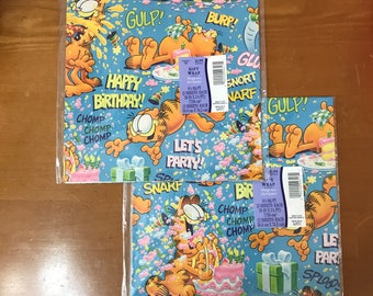 1978 Garfield Wrapping Paper - 2 Sets Garfield Birthday Gift Wrap - Novelty Gift Wrap