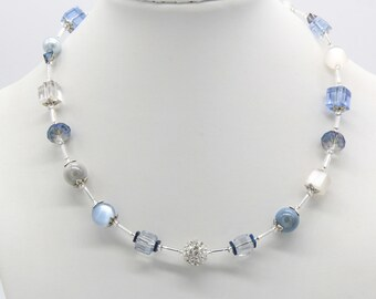 Pale Blue Necklace, Pale Blue & White Necklace, Blue Summer Necklace, Gift for Her, Wedding Jewellery, Blue Cube Necklace, Handmade, Pretty