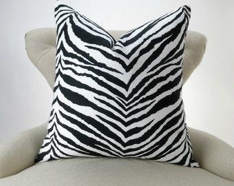 Throw Pillow Cover, Zebra Pattern -MANY SIZES- black white animal print, accent pillow, decorative throw, cushion, Tunisia by Premier Prints