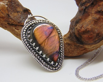 Pink Labradorite Pendant - Sterling Silver Jewellery  - Labradorite Necklace - Sterling Silver Pendant - Gemstone Jewellery