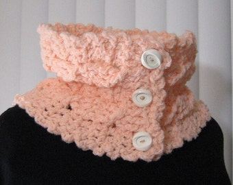 Crocheted Buttoned Cowl Peach