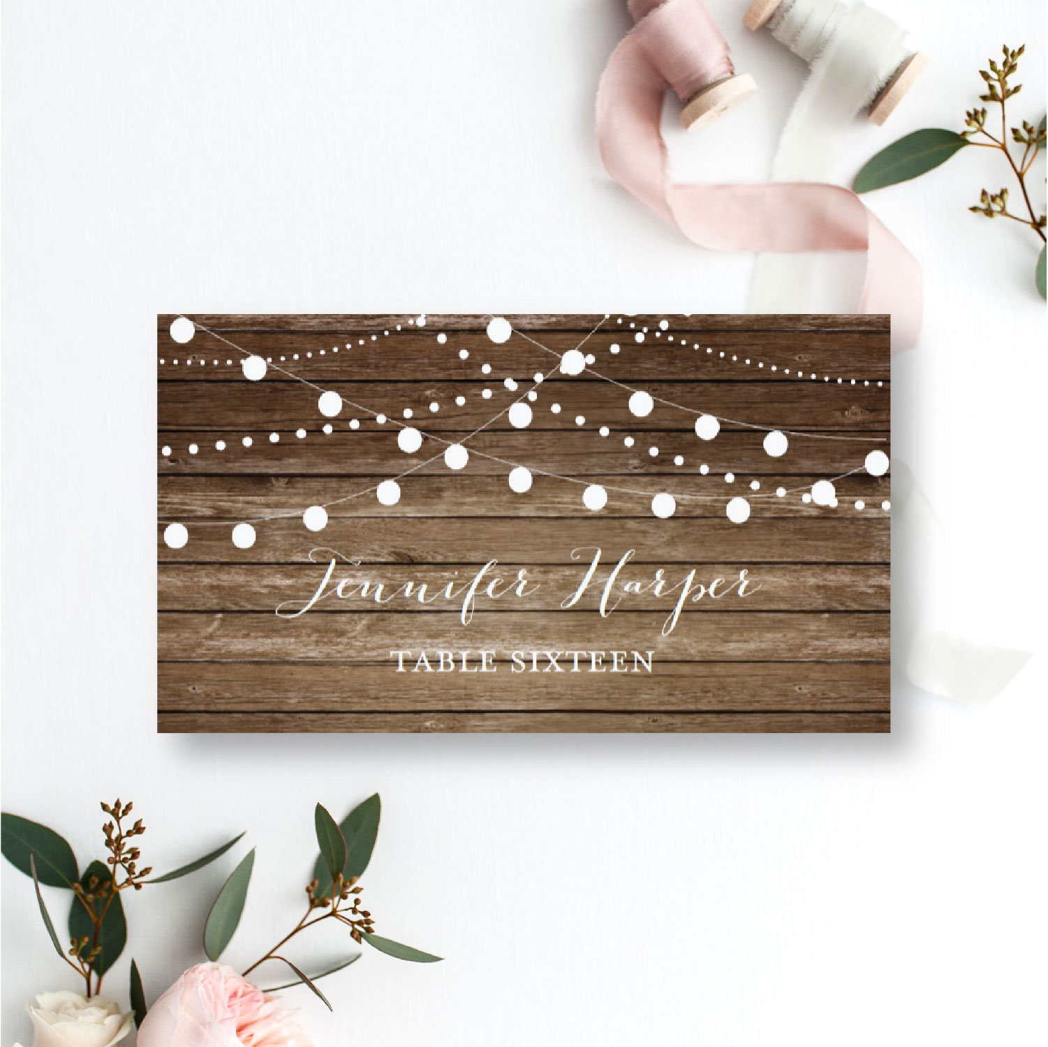 rustic wedding place card country chic hanging lights fall