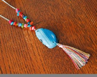 Blue Agate Necklace, Tassle Necklace, Sliced Agate Pendant, Teal Light Blue Clear, Gemstone Necklace