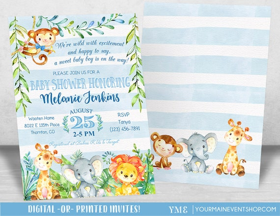 Jungle Baby Shower Invitation, Boy Baby Shower Invitation, Monkey Giraffe Elephant Baby Shower Invite, Tropical Safari Animals Baby Shower