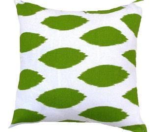 """Green Pillow. Green Ikat Pillows.Green Chipper Pillow..16"""",17"""",18"""",20"""" 24"""" 26"""", Lumbar Pillow or Euro Sham"""